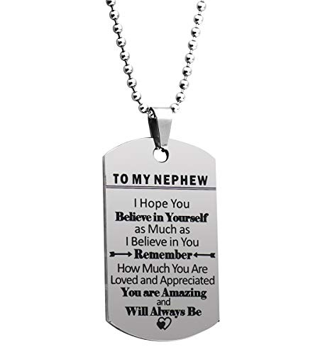 Ankiyabe to My Nephew Inspirational Gifts Necklace from Aunt Uncle Engraved Love Message Dog Tag Pendant Necklace Encouragement Gift for Nephew (to My Nephew I Hope You Believe in Yourself)