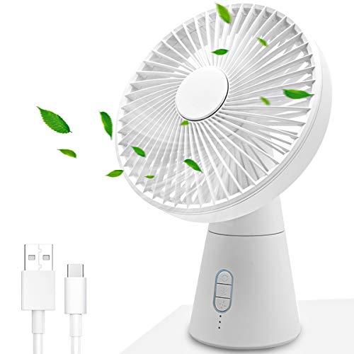 Collen Tragbarer USB Tischventilator Oszillierend mit Timer, 3 Geschwindigkeiten, Tischventilatoren Leiser Elektrischer Ventilator für Heimschlafzimmer Büro Außenreisen Weiß