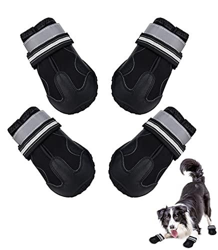 scarpe x cani LUTER 4 Pezzi Stivali per Cani Grandi Scarpe per Cani Antiscivolo Traspiranti Estive Impermeabile Riflettente Suola Non Scivolata per Pavimentazione Calda Protezione delle Zampe (7# per 30-40 kg)