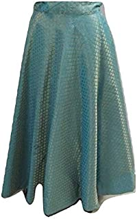 SNEH Women's Brocade Silk Skirt (Turquoise,Free Size)