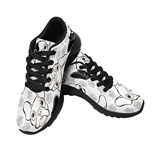 InterestPrint Women's Running Walking Sports Shoes French Bulldog and Paw US7