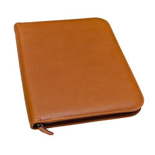 Maruse Personalized Italian Leather Executive Padfolio, Folder Organizer with Zip Closure and Writing Pad, Handmade in Italy, Honey