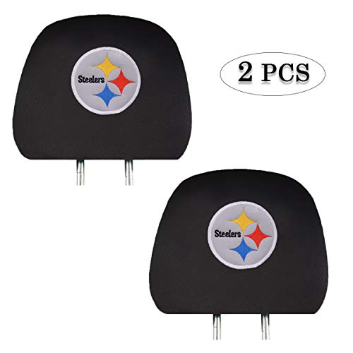 Fit Pittsburgh Steelers Car Headrest Covers,Black Slip Over Embroidered Steelers Head Rest Cover Set Universal Car Interior Accessories fit for Toyota Jeep Ford Lexus Cadillac BMW Audi - Set of 2