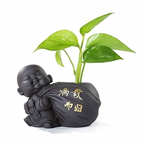 XJJZS 1 unids té cerámico Mascota pequeño Buda Estatua Monje estatuilla Adornos de Escritorio Maceta púrpura cerámica decoración de té Accesorios