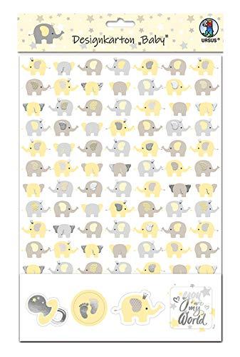 URSUS 62454603F Baby, set met 5 vellen designkarton 220 g/m2, gesorteerd in 5 motieven, DIN A4, eenzijdig bedrukt en gedeeltelijk veredeld met folie en 20 thematisch afgestemde stickers, kleurrijk