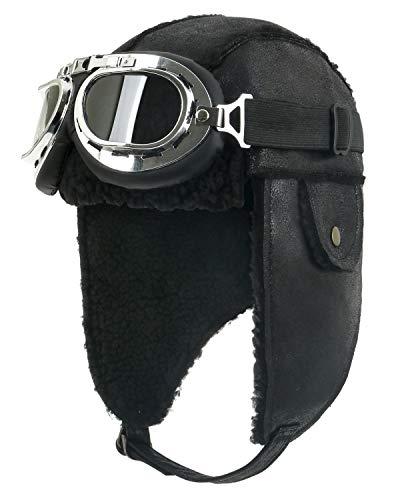 ililily Aviator Hat Winter Snowboard Fur Trim Ear flaps Trooper Trapper Pilot Hat with Goggles (aviator-403-1) Black