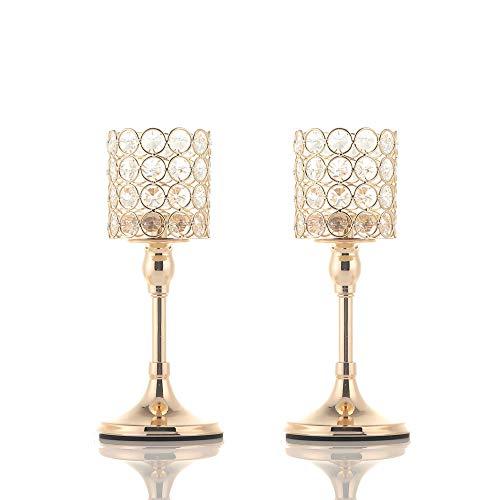 VINCIGANT Portavelas Cilindro de Oro Candelabros de luz de Te de Cristal para Boda Mesa de Centro Centros de Mesa Decorativos/Regalos para Celebracion Juego de 2