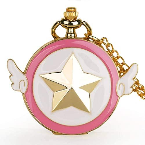 XXCHUIJU Moda Mujeres Hombres Reloj de Bolsillo de Cuarzo Diseño de Dibujos Animados Niños Colgante Collar Reloj Regalos Reloj