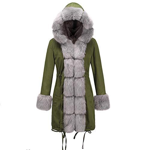 BIXUYAO Womens Faux Bont Gevoerde Jassen/Winter Hooded Warm Jas Outdoor Vrije tijd Mid-Lengte Jurk
