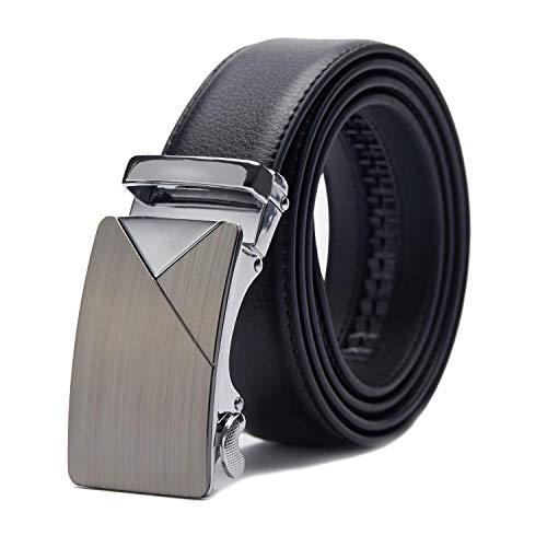 TANGCHAO Cintura Uomo, Cintura a Cricchetto da Uomo in Pelle con Fibbia Scorrevole Automatica 35mm Larghezza Nero 10-HEI-ZD 115CM