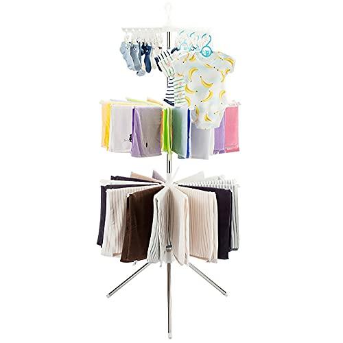 Tendedero de 3 niveles, multifuncional de acero inoxidable balcón móvil secadero estante de secado de múltiples capas para bebé, toallero de secado (rosa)