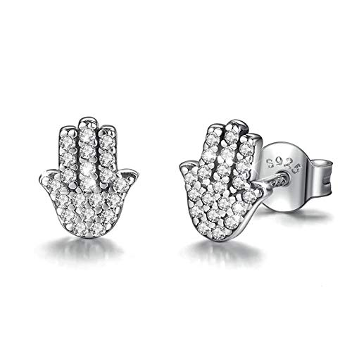 925 Sterling Silver Hamsa Hand Earring Silver Hand Ear Stud With Clear Cubic Zirconia Earrings Jewelry For Lover