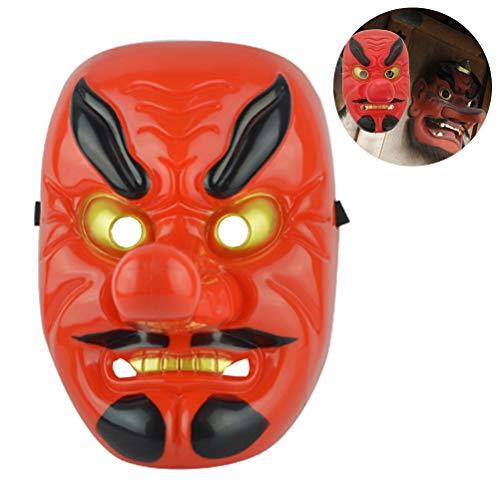 Kylewo Máscara de Nariz Larga Horror Japanese Warrior Mask Halloween Festive Holiday Cosplay Mask Kit Party Supplies
