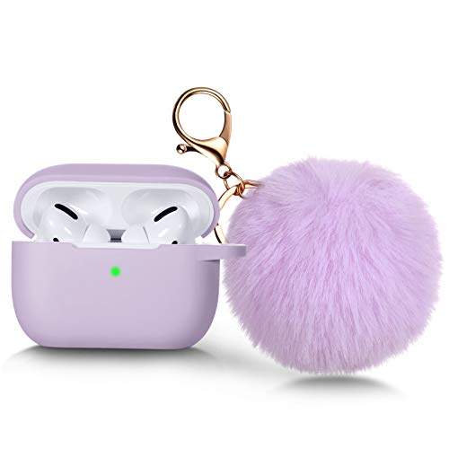 Witzon Compatible for AirPods Pro Case Silicone Cover with Cute Fur Ball Keychain Accessories [Front LED Visible] Replacement Protective Cases for Apple AirPod Pro Women Girls, Lavender/Lavender