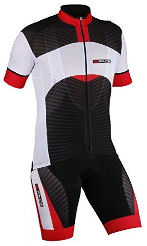 Threeface Completo Estivo Ciclismo Maglia + Salopette Axe Traspirante Abbigliamento Bici Rosso (L)