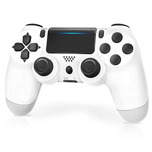 Manette pour PS4,JORREP Manette sans Fil pour Playstation 4/Pro/Slim Console avec Audio,Dualshock Fonction,Pavé Tactile,Blanc