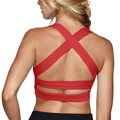 Snailify Women's Sports Bra Criss Cross Racerback High Impact Yoga Running Wirefree Bras - Yoga Gym Workout Bra Red