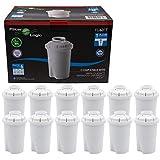 FilterLogic FL601T - confezione 12 filtri - Cartuccia filtrante per caraffa compatibile con BRITA Classic / BWT Anna / Kenwood Universal / Laica Multi-Flux Classic / Tefal / Aquaphor B100-15 / Dafi Classic filtro per acqua - 100406