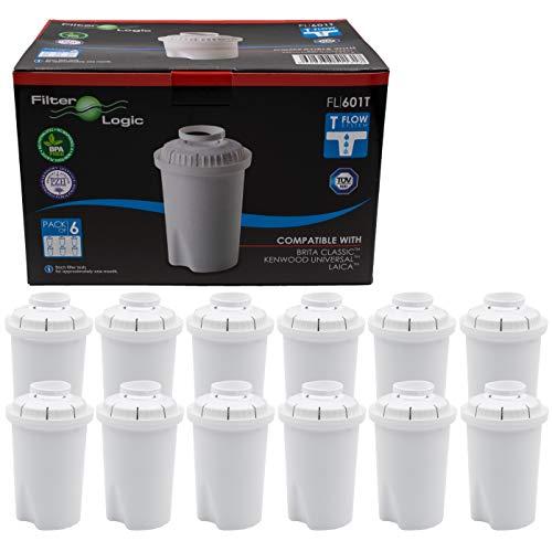 FilterLogic FL601T | 12er Pack Wasserfilterkartuschen kompatibel mit Brita Classic Wasserfilterkannen / Tischwasserfilter Wasserfilter Filterkartuschen Kartuschen