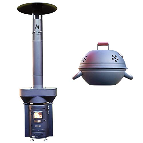 Q-Stoves QSTOVES Q-Flame Outdoor Wood Pellet Patio Heater Bundle with QBQ Barbecue with Thermometer, Eco-Friendly