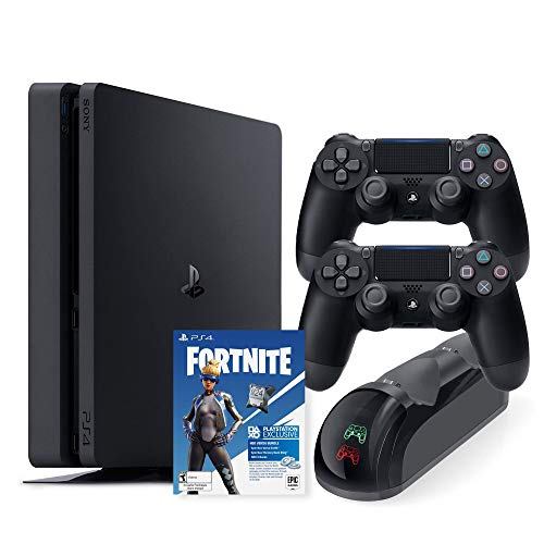 Playstation 4 Slim 1TB Console with Two DS4 Wireless Controller Neo Versa and Mytrix DS4 Fast Charging Dock