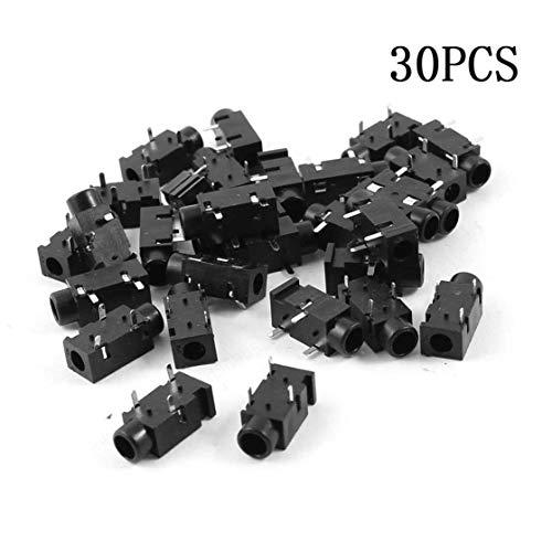 30 Stück schwarz Leiterplattenmontage Buchse Stereo Audio Jack Buchse 3 Pin 3,5 mm