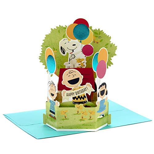 Hallmark Paper Wonder Peanuts Pop Up Birthday Card (Snoopy, Charlie Brown, Day Filled with Fun) (799RZW1080)
