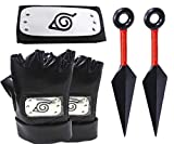 Naruto Leaf Village Headband Naruto Village Headband,Mask,with Kunai for Ninja Themed Party,Costume,Fit for Kids/Adult Cosplay Black