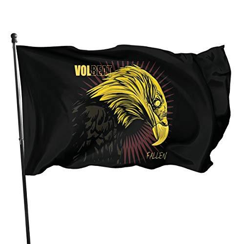 UKFaaa Volbeat Deko-Fahne für den Garten, 91,4 x 152,4 cm, Schwarz, Einheitsgröße