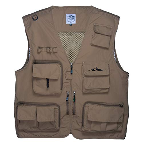 Autumn Ridge Traders Fly Fishing Photography Vest with 16 Pockets Made with Lightweight Mesh Fabric for Travelers, Sports, Hiking, Bird Watching, River Guide Adventures and Hunting.