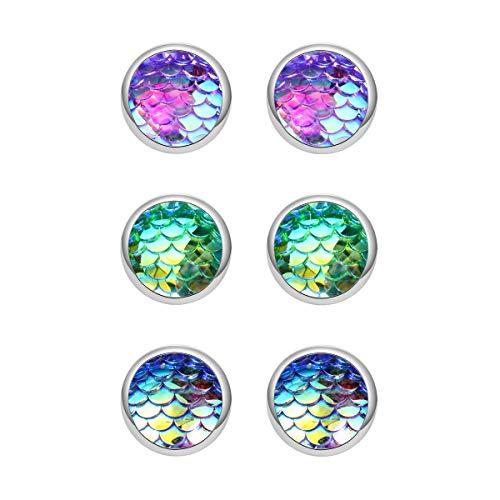 Trio Mermaid Scale Silver Tone Stud Earrings Seafoam Clear AB Blue Best Friend for Girls