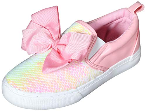 JoJo Siwa Girls Signature Bow Slip on Sneaker, Pink Sequins, 4 Big Kid'