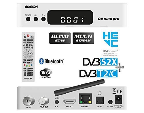 EDISION OS NINO PRO Full HD Linux E2 Combo-Receiver H.265/HEVC (1x DVB-S2X, 1x DVB-T2/DVB-C, Multistream, Blind Scan, WLAN onboard, Bluetooth onboard, 2X USB, HDMI, LAN, Linux, Kartenleser) (Weiß)