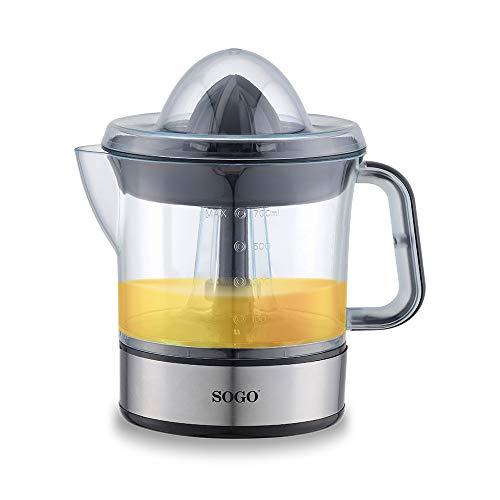SOGO SS-5222 Exprimidor de zumo automático, con Jarra de 0,7 Litros con tapa, potente y silencioso, color negro