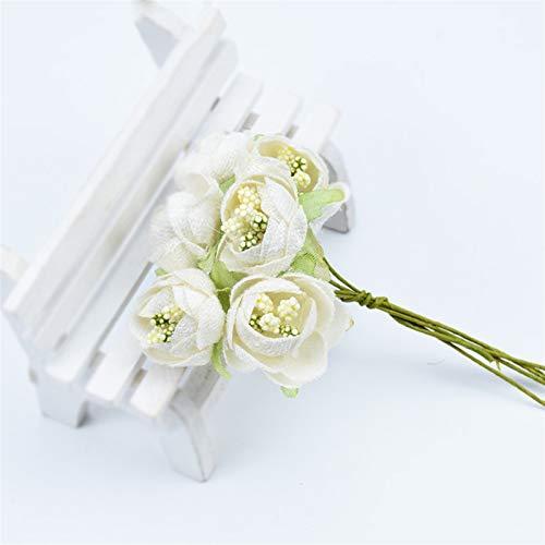 HGDD Künstliche Blumen 6 stücke Seide Tee Rosen Strauß for Vasen Handarbeit DIY Geschenke Box Künstliche Pflanzen Staubkörper Weihnachtskranz Wohnkultur Zubehör (Color : Milk White)