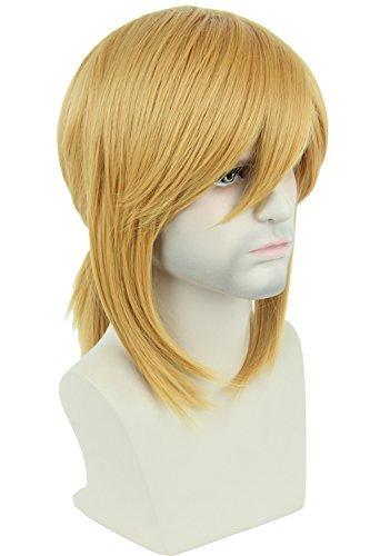 Topcosplay Perücke, blond, kurze Seitenbände, mit Zopf, Cosplay, Halloween-Kostüm, Perücke für Männer oder Frauen