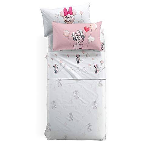 Caleffi Minnie Love - Juego de sábanas, algodón, único, Individual