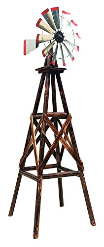 Leigh Country TX93485 Char-Log Rustic 9ft Wooden Windmill As Decoration For Hobby Farm, Vegetable...