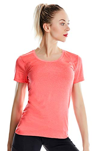 Zengjo Running Shirts Women Short Sleeve(L,Fiery Coral Heather)