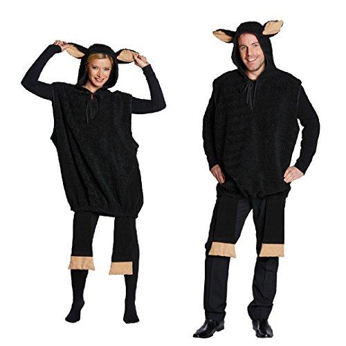 Kostüm schwarzes Schaf Overall für Damen und Herren (Small)