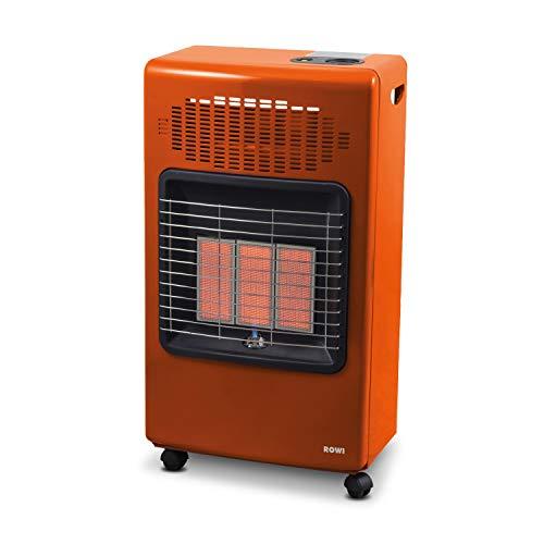 Rowi Infrarot Gasheizofen-Infrarot Keramikbrenner (4200 Watt, 300 g/h/Gasheizvolumen 120 m³, Piezozünder, Laufrollen, Farbe (orange), inkl. Schlauch und Druckregler Typ 694, Made in Europe