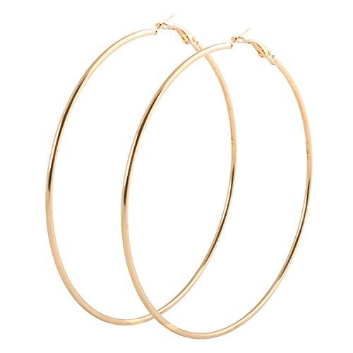 Pendientes de aro Geralin Gioielli, grandes, dorados, para mujer, fashion, vintage 9cm