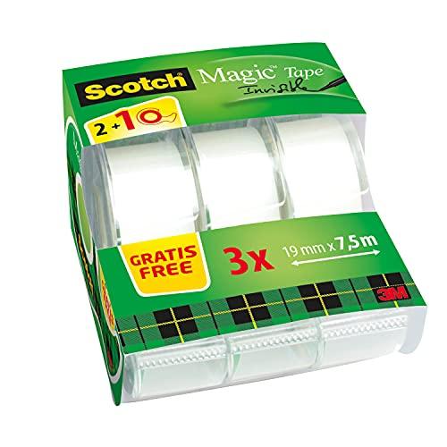 Scotch Magic Cinta Adhesiva Invisible - 2 Rollos de 19mm x 7,5m + 1 GRATIS - Cinta Adhesiva de Uso General para Reparación, Etiquetado y Sellado de Paquetes y Documentos