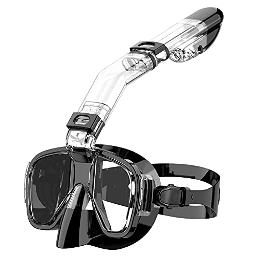 Snorkel Mask Snoky Snorkeling Gear for Adults Kids Seaview 180° Panoramic Swimming Full Face Easy Breathe Dry Snorkel Mask Set Foldable Scuba Mask Gear Diving Mask for Men Women Youth Sea Pool Black L
