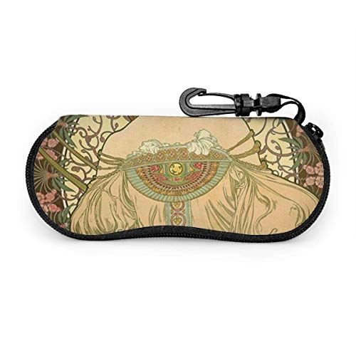 JONINOT Champagner Poster von Mucha Sonnenbrillen Soft Case mit Gürtelclip, leichte weiche Schutzbrille aus Neopren mit Reißverschluss, 17 cm × 8 cm