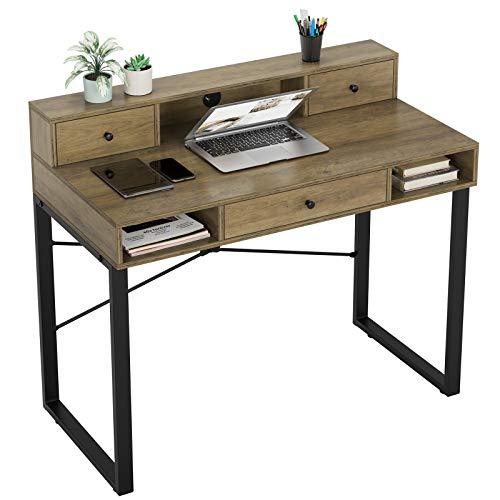 HOMECHO Schreibtisch mit Schubladen Computertisch mit Ablagen Officetisch PC-Tisch Arbeitstisch für Office Wohnzimmer Bürotisch im Industrie-Design Vintage Holz Hellbraun 107x54x93cm