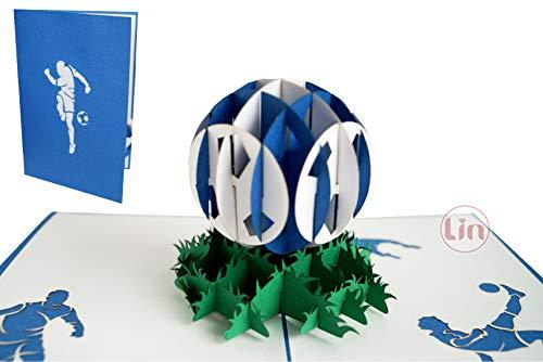 LIN 17550, Pop Up Karte Fußball, Pop Up Karte, POP UP Karten Geburtstag, Pop Up Geburtstagskarte, Gutschein Stadion, Blau Weiß, 3D Fußball Grußkarten, Schalke, Hamburg, Fußball Karte Schalke, N306