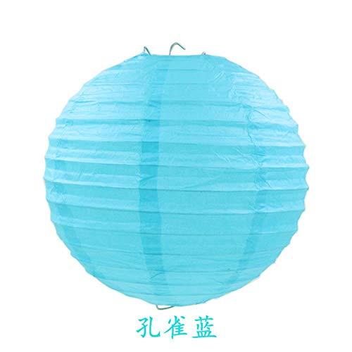TTYAC 4-6-8-10-12-14-16inch Runde chinesische Papierlaterne Weihnachten Weihnachten Halloween Hochzeit dekorative hängende weiße Papierlampen Lampion, Pfauenblau, 6 Zoll (15 cm)