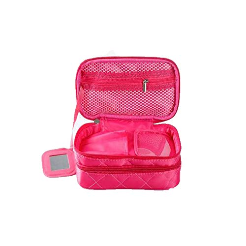 Bidiri Nylon Double Layer Waterproof Cosmetic Bag - Multifunctional Portable Makeup Organizer Case with Mirror, Brush Pouch Holder, Carry Handle for Travel Perfect for Women Girls (Rose red)