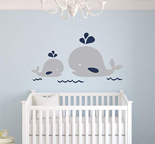 pegatinas decorativas pared Mamá náutica y bebé ballena vinilo tatuajes de pared decoración náutica bebé Nursery tatuajes de pared pegatinas de pared para el dormitorio de los niños guardería